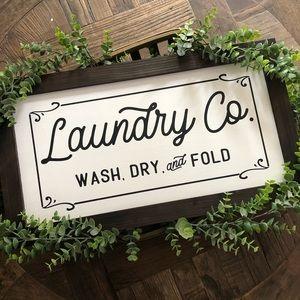 Laundry Co Wash Dry & Fold Farmhouse Wood Sign